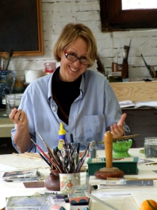 Mary Marjerrison in Maureen Booth's printmaking studio