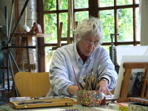 Barbara Milman at work in Maureen Booth's studio in Granada