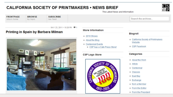 California Society of Printmakers Newsletter