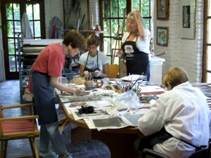 The Chicago Girlz at work with Maureen Booth in her Granada printmaking studio.
