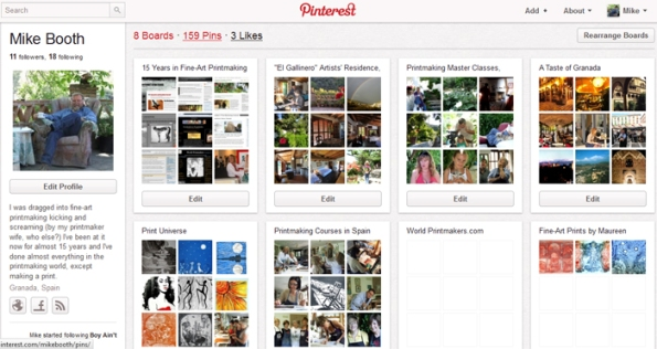 Screen shot of Mike Booth's Pinterest.com page
