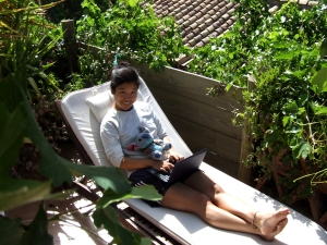 Bea Chang, hard at work on the Gallinero terrace